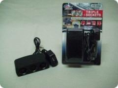 Переходник прикуривателя KS-0098 на 3 гнезда + 1 USB 500мА разъем с удлинителем, черный